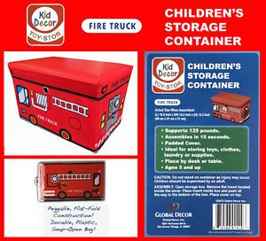 Global Decor Toy STOR Fire Truck Children's Storage Container