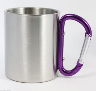 Purple Carabiner Handle 8 Ounce Mug Stainless Steel Double Wall Insulated Cup