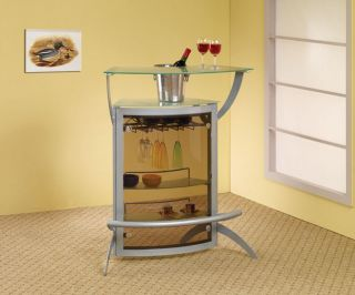 Modern Silver Home Bar Table Metal Frosted Glass