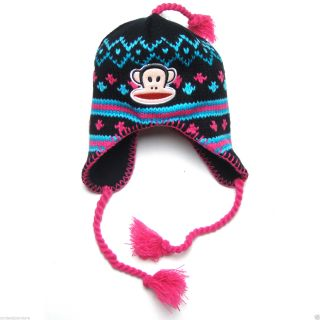 Paul Frank Julius Monkey Peruvian Knitted Beanie Winter Hat for Girls Kids Black