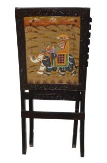 Indian Vintage Wooden Chair Wood Elephant Paint Decorative Single Chairs Antique