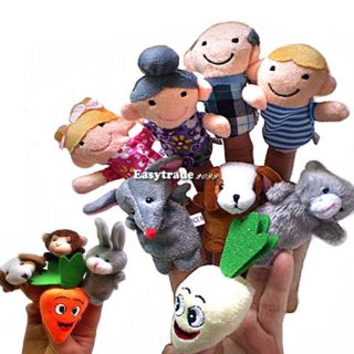 Family Finger Puppets Cloth Doll Baby Educational Hand Toy Story Kid Gift 8TYPES