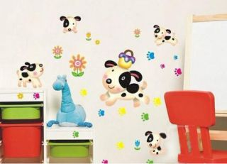 Happy Puppy Dog Sunflower Mural Art Removable Decal Footprint Wall Sticker Kids