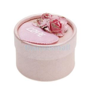 Cute Round Wedding Candy Gift Favor Box Supply Jewelry Box Decor w Paper Rose