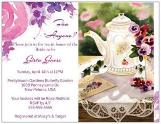 Personalized Tea Party Wedding Baby Shower Birthday House Warming Custom Cards