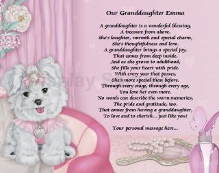 Granddaughter Gift Personalized Poem for Granddaughter Princess Puppy Print