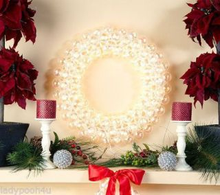 "Bethlehem Lights 20"" Kringle Ball Wreath w Clear Christmas Lights"