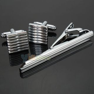 New Unique Men's Tie Clips and Cufflinks Brushed Silver Wedding Party Gift