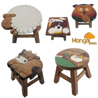 Osaka Kids Wooden Step Stool Chair Hand Carved Art Work on Mango Wood Dog