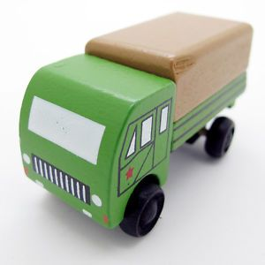 Green White Hand Made Wooden Mini Military Vehicle Soldier Car Baby Kids Toy 076