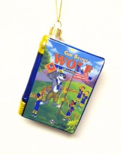 "Kurt Adler Christmas Ornament Boy Scouts of America Blown Glass Book ""Wolf"""