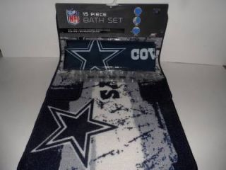 NFL Dallas Cowboys 15 Piece Bath Set Shower Curtain Bathroom Rugs Rings New