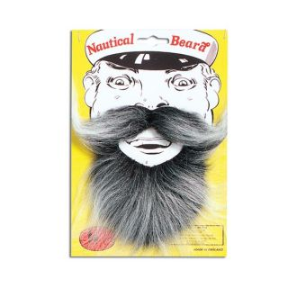 Adult Fancy Dress Costume Party Accessory Nautical Sailors Captains Beard Grey