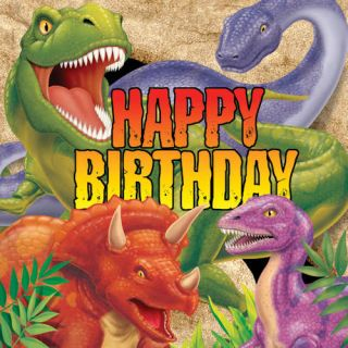 Dino Blast Dinosaur T Rex Happy Birthday 3 Ply Happy Birthday Napkin 16 Pack