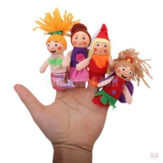 4X Set of 4pcs Little Red Riding Hood Small Finger Puppets Bed Time Story Props