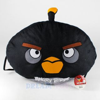 Rovio Angry Birds Plush Pillow Black Bird Cushion Side Ties Chair Back Rest