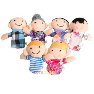 6pcs Family Finger Puppets Cloth Doll Baby Educational Hand Toy Story Kid LS4G