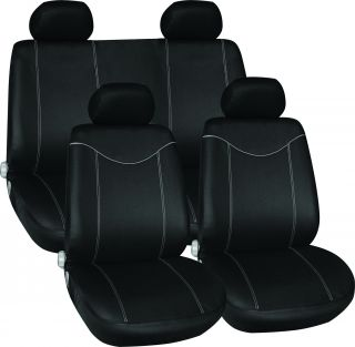 11pc Black Grey Sports Car Racing Style Seat Chair Protector Covers Set Pack
