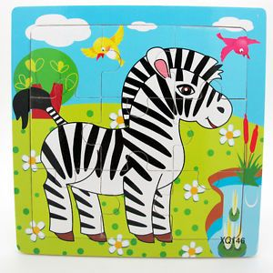 9pcs Wooden Zebra Puzzle Educational Developmental Baby Kids Training Toy