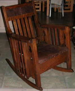 Antique Arts Crafts Mission Oak Parlor Library Rocking Chair Rocker Limbert