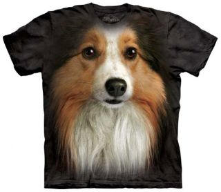 Sheltie Dog Face T Shirt Adult Small Pet Tee by The Mountain