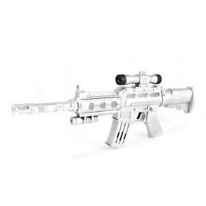 Kids Firing Sounds Lights Sniper Rifle Military Machine Gun Toy Gift Silver Tone