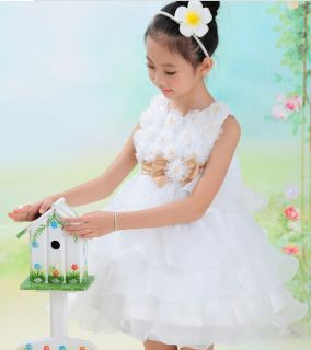 2014 Girls Kid 3D Bowknot Flower Tutu Skirt Princess Wedding Party Pageant Dress