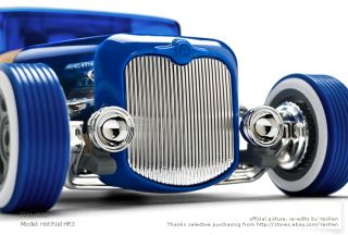 Automoblox Cars Hot Rod HR3 Wooden Car Kids Model Toys Blue Full Size Newest