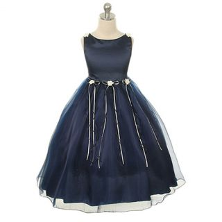 Kids Dream Girls 12 Navy Rosebud Organza Flower Girls Dress
