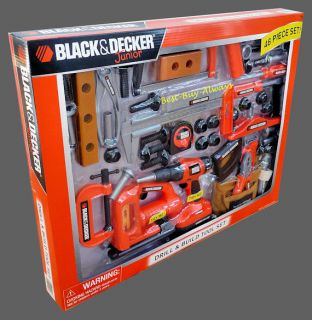 Black and Decker Jr Power Toy Kid N Junior Pretend Play Tool Set for Work Bench