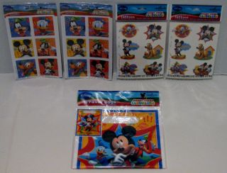 Disney Mickey Mouse Birthday Party Stickers Tattoos Favor Bags Hallmark for 8