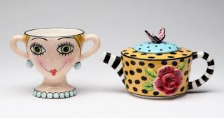 New Appletree Design Hand Painted Ceramic Lady Lux Tea for One by Babs Keller