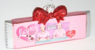 "Kurt Adler Christmas Glass ""I Love Lucy"" Chocolate Bar Ornament"