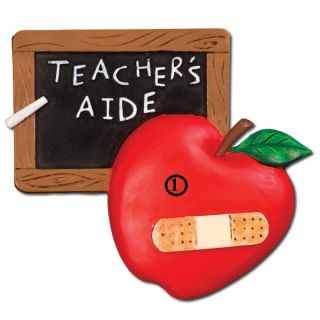 School Teacher's Aide Apple Student Personalized Christmas Tree Ornament Gift