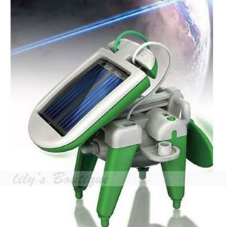 Hot 6in1 DIY Educational Solar Kit Puppy Plane Windmill Airboat Tank Robot Toy