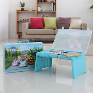 Hyundai Hmall Robocar Poli Kids Open Folding Desk Table Light Korea Police Car