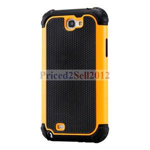 Heavy Duty Hybrid Rugged Hard Case Cover Samsung Galaxy Note 2 II N7100 Orange