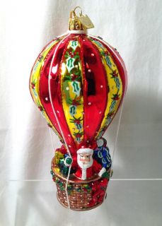 New Kurt Adler Noble Gems Glass Santa in Hot Air Balloon Ornament NB0656