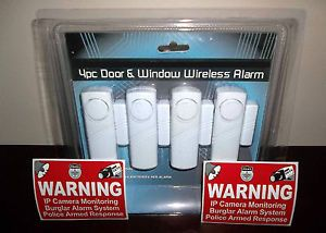 Wireless Home Security Door Window Alarms System Cameras in Use Warning Stickers