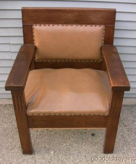 Antique Arts Crafts Solid Oak Arm Chair Masonic Lodge