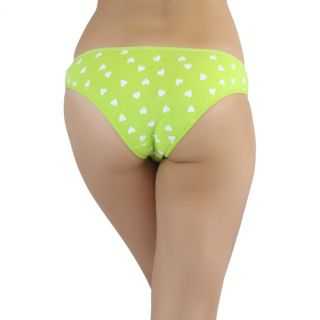 Women's 6 Pack Heart Lace Print Low Rise Cotton Bikini Panty Brief Underwear