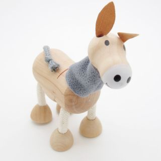 3D Portable Wooden  Animals Wood Figures Baby Kids Toys Donkey