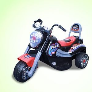 New Battery Powered Kids Ride on Toy Chopper Motorcycle Car 3 Wheel Black