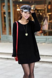 New Retro Loose Long Thicken Knitwear Large Size Top Knitted Sweater Dress