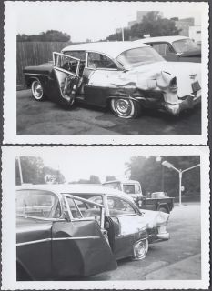 2 Vintage Car Photos 1955 Chevy Bel Air Wreck Jeep 150 Truck 870465