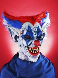 Crazy Out of Control Clown Circus Mask Scary Horror Halloween Costume Accessory