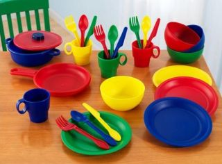 KidKraft Red Retro Vintage Pretend Play Kids Kitchen 27 Piece Dish Set