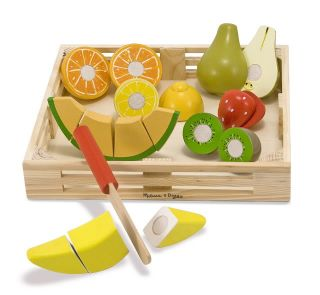 New Melissa Doug Wooden Play Food Cutting Fruit Wood Toys Playset Educational