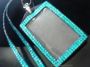 Turquoise Blue Rhinestone Badge ID Holder Lanyard Eyeglass Key Chain Necklace