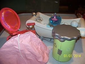 American Girl Salon Chair Salon Cart Bathtub with Bubbles More